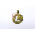 Pendente Aço Inox Medalha Redonda Letra L - Dourado (25mm)