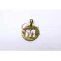 Pendente Aço Inox Medalha Redonda Letra M - Dourado (25mm)