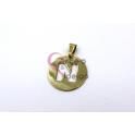 Pendente Aço Inox Medalha Redonda Letra N - Dourado (25mm)