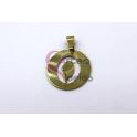 Pendente Aço Inox Medalha Redonda Letra O - Dourado (25mm)