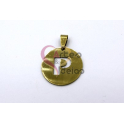 Pendente Aço Inox Medalha Redonda Letra P - Dourado (25mm)