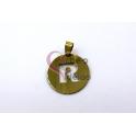 Pendente Aço Inox Medalha Redonda Letra R - Dourado (25mm)