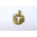 Pendente Aço Inox Medalha Redonda Letra T - Dourado (25mm)