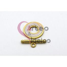 Fecho Aço Inox em T Resina Embutida (19mm) - Dourado