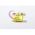Pendente Aço Inox Quadrado Live - Dourado (15mm)