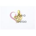 Pendente Aço Inox Mini Coração com Corações - Dourado (18x15mm)