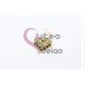 Pendente Latão Mini Coração com Zircónias / Brilhantes - Dourado (10x11mm)