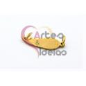 Pendente Aço Inox Folha Argola Dupla - Dourado (7x20mm)