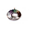 Pendente Aço Inox Arvore da Vida com Pedrinhas - Dourado Rosa (50mm)