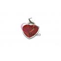 Pendente Aço Inox Coração Colorido - Prateado e Vermelho (26x23mm)