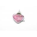 Pendente Aço Inox Coração Colorido - Prateado e Rosa (26x23mm)