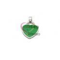 Pendente Aço Inox Coração Colorido - Prateado e Verde (26x23mm)