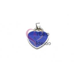 Pendente Aço Inox Coração Colorido - Prateado e Azul (26x23mm)