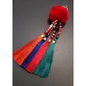 Porta-Chaves Pompom Vermelho com Franjas 4 Cores