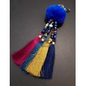 Porta-Chaves Pompom Azul com Franjas 4 Cores