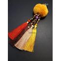Porta-Chaves Pompom Amarelo com Franjas 4 Cores
