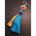 Porta-Chaves Meia Lua com Franja Azul Clara