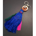 Porta-Chaves Meia Lua com Franja Azul Escuro