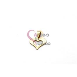 Pendente Aço Inox Aro Coração - Dourado (16x20mm)