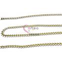 Corrente Aço Inox Dourada Apontamentos Brancos [98cm]