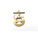 Fecho Aço Inox em T Medalha Ursinho Recortado (22mm) - Dourado
