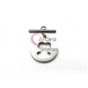 Fecho Aço Inox em T Medalha Ursinho Recortado (22mm) - Prateado