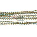 Corrente Dourada Pequenos Cristais Tons Azul Turquesa [97cm]