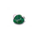 Pendente Pedra Semi-Preciosa Coração Verde Mesclado - Prateado (22x25)
