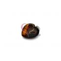Pendente Pedra Semi-Preciosa Coração Quebrado Castanho Listado - Prateado (22x25)