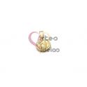 Pendente Aço Inox Mini Anjo Botticelli Relevo - Dourado (12mm)