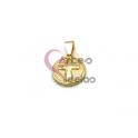 Pendente Aço Inox Cruz Relevo - Dourado (17mm)