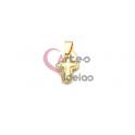 Pendente Aço Inox Cruz 3D Pontilhado - Dourado (20x13mm)
