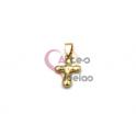 Pendente Aço Inox Cruz 3D - Dourado (20x14mm)
