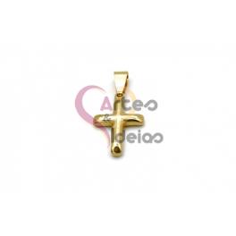 Pendente Aço Inox Cruz 3D - Dourado (21x15mm)