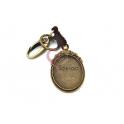 Porta-Chaves Base Cabochon Oval Cabedal Castanho - Dourado Velho