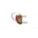 Pendente Pedra Semi-Preciosa Mini Dente Jasper - Dourado (16x10mm)