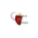 Pendente Pedra Semi-Preciosa Mini Dente Ágata Vermelha - Dourado (16x10mm)