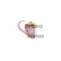 Pendente Pedra Semi-Preciosa Mini Dente Quartzo Rosa - Dourado (16x10mm)