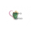 Pendente Pedra Semi-Preciosa Mini Dente Quartzo Verde - Dourado (16x10mm)