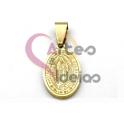 Pendente Aço Inox Oval Nossa Senhora Guadalupe - Dourado (17x13mm)