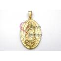 Pendente Aço Inox Oval Relevo Nossa Senhora - Dourado (37x23mm)