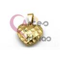 Pendente Aço Inox Coração 3D Efeito Quadriculado - Dourado (14x15mm)