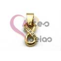 Pendente Aço Inox Infinito Brilhantes - Dourado (16x7mm)