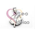 Pendente Aço Inox Mini Trevo Madreperola - Prateado (14x11mm)
