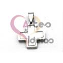 Pendente Aço Inox Mini Cruz Madreperola - Prateado (15mm)