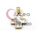 Pendente Aço Inox Mini Cruz Madreperola - Dourado (15mm)