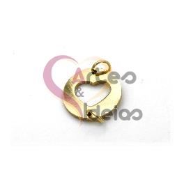 Conector Aço Inox Mini Coração - Dourado (14mm)