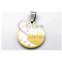 Pendente Aço Inox Medalha Redonda Multi-Corações - Prateado e Dourado (20mm)