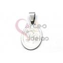 Pendente Aço Inox Oval Anjo - Prateado (23x15mm)