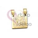Pendente Aço Inox Nossa Senhora Carmo - Dourado (15x15mm)